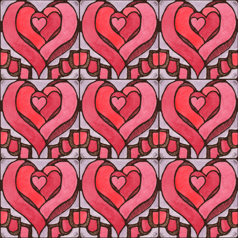 Stained Hearts fabric by amyelyse on Spoonflower - custom fabric