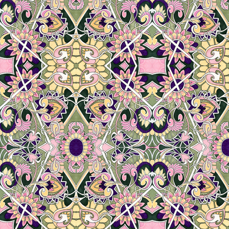 In An English Country Garden (pink/yellow) fabric by edsel2084 on Spoonflower - custom fabric
