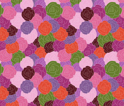 Layered Roses fabric by jannasalak on Spoonflower - custom fabric