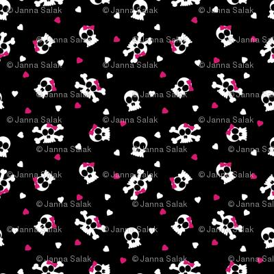 Ditsy Skull and Bones Pattern Black Background