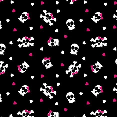 Ditsy Skull and Bones Pattern Black Background fabric by jannasalak on Spoonflower - custom fabric