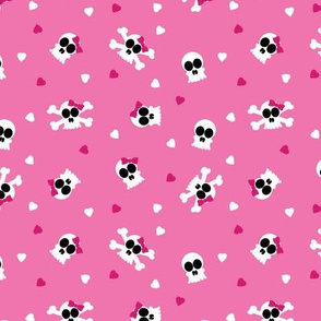Ditsy Skull and Bones Pattern Pink Background