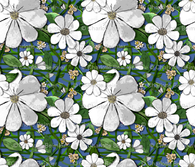 Floral Vines - white (small print)