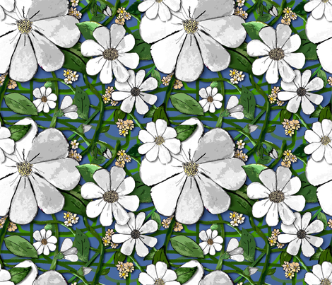 Floral Vines - white (small print) fabric by engravogirl on Spoonflower - custom fabric