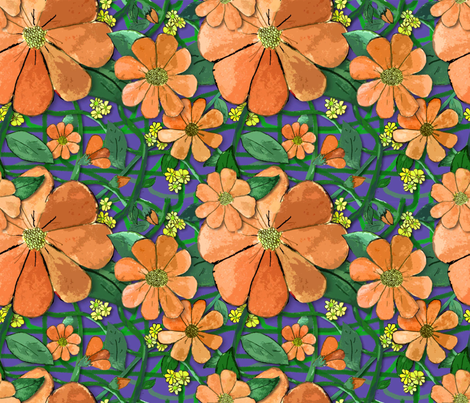 Floral Vines - Orange (small print) fabric by engravogirl on Spoonflower - custom fabric
