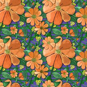 Floral Vines - Orange (small print)