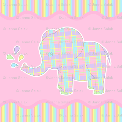 Baby Elephant Pastel Repeat