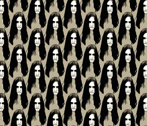 Black Metal heads 1 beige wallpaper - susiprint - Spoonflower