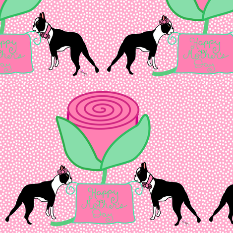 Boston Terriers love Moms fabric by missyq on Spoonflower - custom fabric