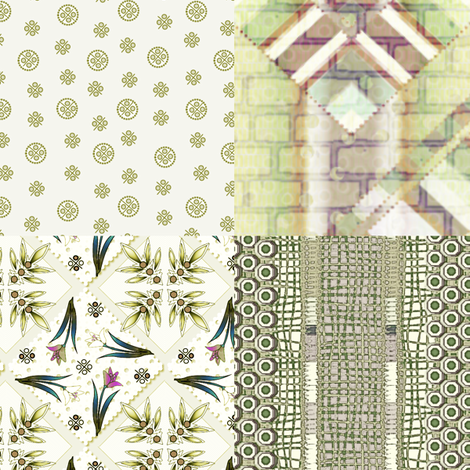 Delft Olive 4in1  fabric by glimmericks on Spoonflower - custom fabric