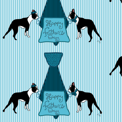 Boston Terriers love Dads fabric by missyq on Spoonflower - custom fabric