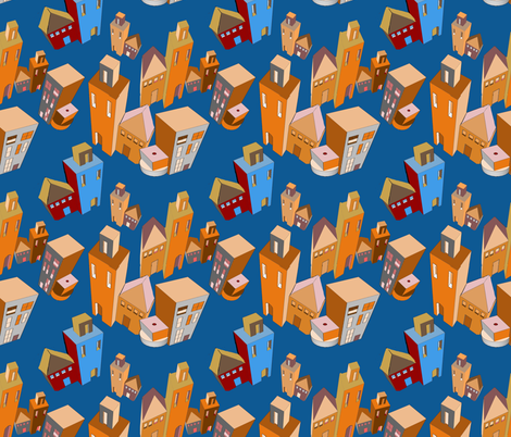 Imaginary city buildings fabric by dogdaze_ on Spoonflower - custom fabric