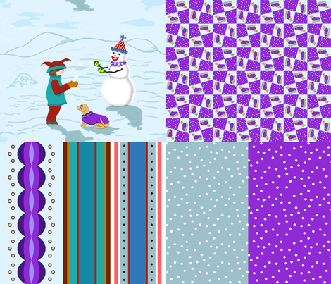 clown_boy_snowman_dog_4_in_1 fabric by khowardquilts on Spoonflower - custom fabric