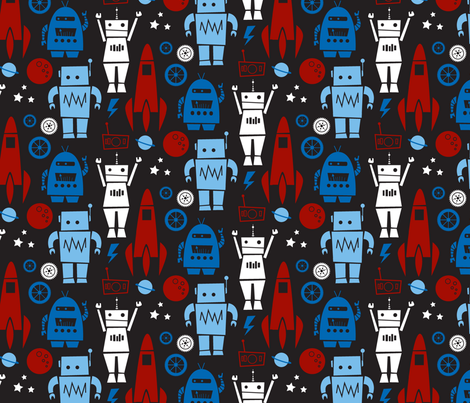 Rockets N' Robots (red) fabric by leanne on Spoonflower - custom fabric