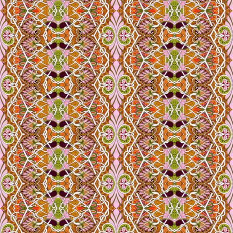 Feminine Floral Zig Zag vertical stripe fabric by edsel2084 on Spoonflower - custom fabric