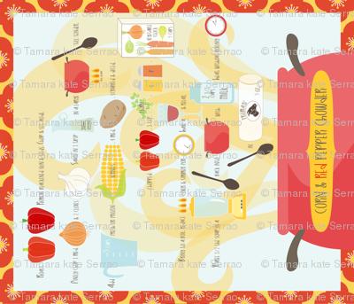 Corn & Red Pepper Chowder Tea Towel