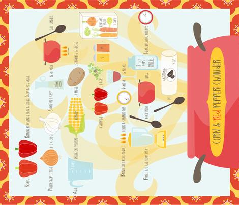 Corn & Red Pepper Chowder Tea Towel fabric by kayajoy on Spoonflower - custom fabric