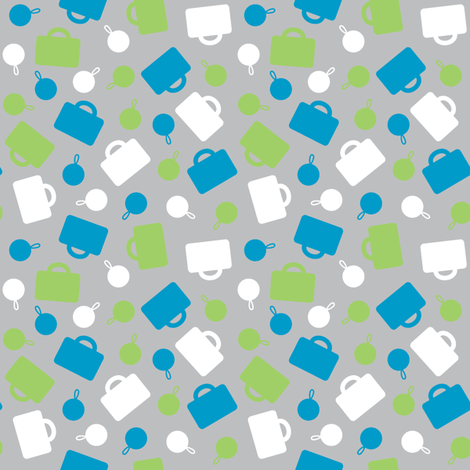 Blue Luggage Ditsy fabric by modgeek on Spoonflower - custom fabric