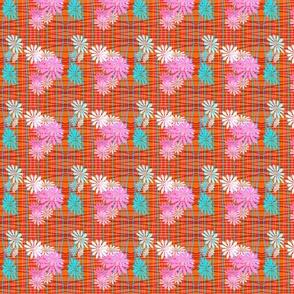 Orange Plaid & Flowers