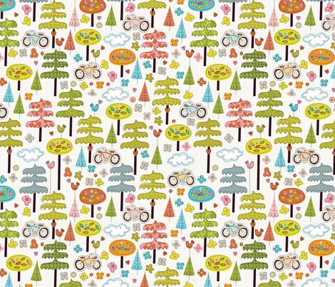 It's a Handmade World: Ride a Bike, Hug a Tree fabric by cynthiafrenette on Spoonflower - custom fabric