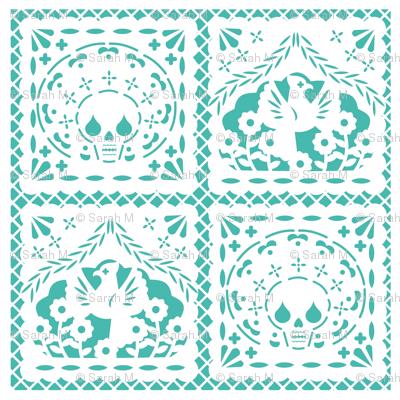 Papel Picado white on turquoise ground