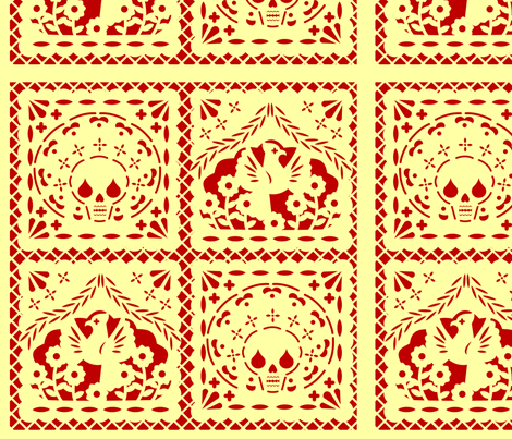 Papel Picado yellow on red ground fabric by thirdhalfstudios on Spoonflower - custom fabric