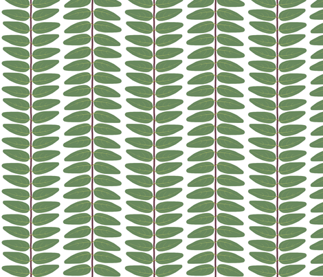 Hypericum Hidcote leaf stripe - white (Coordinate for Buttercups on a bush) fabric by victorialasher on Spoonflower - custom fabric