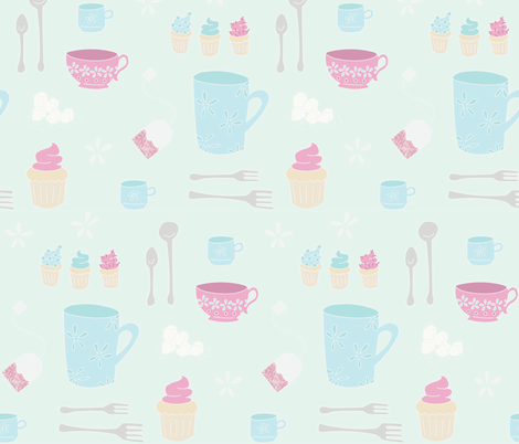 Tea Time (cool) fabric by wildflowerbee on Spoonflower - custom fabric