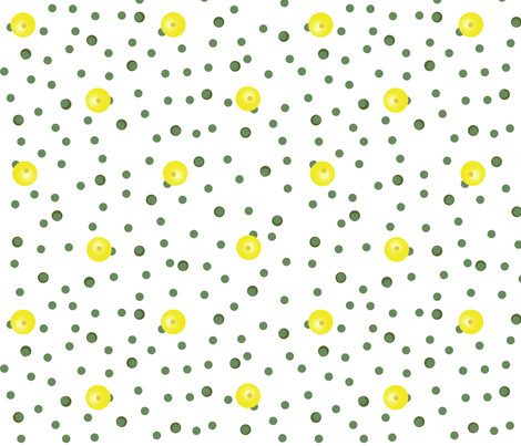Buttercups on a bush coordinate dot (white) fabric by victorialasher on Spoonflower - custom fabric