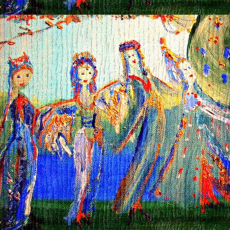 Medieval maids-ed fabric by myartself on Spoonflower - custom fabric