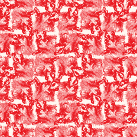 orange wolfes on white background fabric by susiprint on Spoonflower - custom fabric