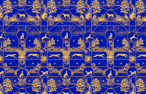 Autumn Greyhounds Blue ©2011 by Jane Walker fabric by artbyjanewalker on Spoonflower - custom fabric