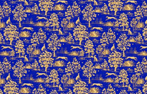 Blue Harvest Greyhound Toile ©2011 by Jane Walker fabric by artbyjanewalker on Spoonflower - custom fabric