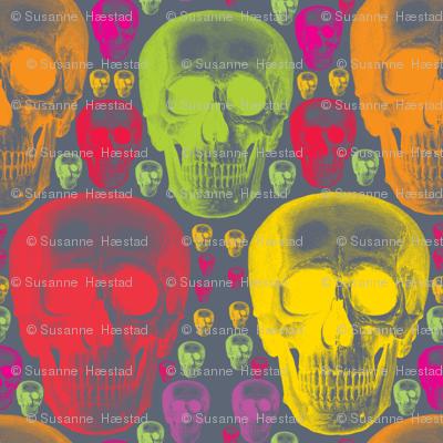 multicoloured skulls on dark grey background.