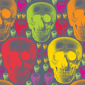 multicoloured skulls on dark grey background.