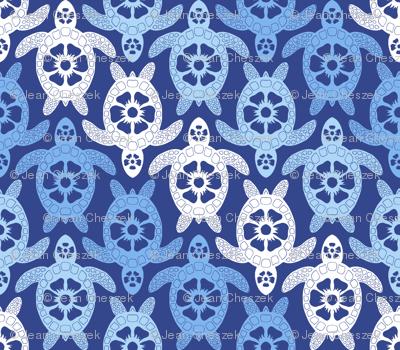 Turtles - Blue Diagonal