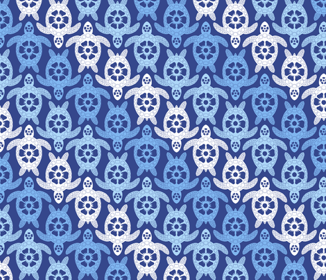 Turtles - Blue Diagonal fabric by coloroncloth on Spoonflower - custom fabric