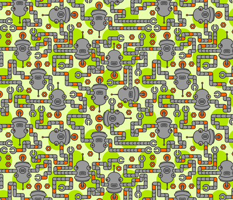 Robots on Leaf Green fabric by thirdhalfstudios on Spoonflower - custom fabric