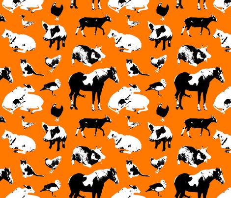 Farm Animals (Orange) fabric by primenumbergirl on Spoonflower - custom fabric