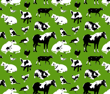 Farm Animals (Green) fabric by primenumbergirl on Spoonflower - custom fabric
