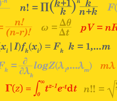 Equations and Equations - Yellow fabric by primenumbergirl on Spoonflower - custom fabric