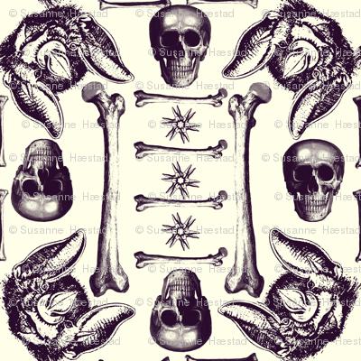Skulls,bones,bats on white.