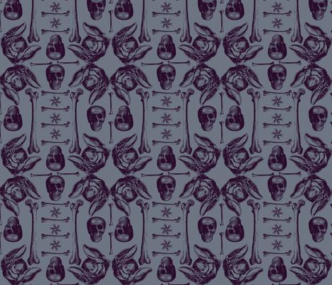 bats,bones and skulls. fabric by susiprint on Spoonflower - custom fabric