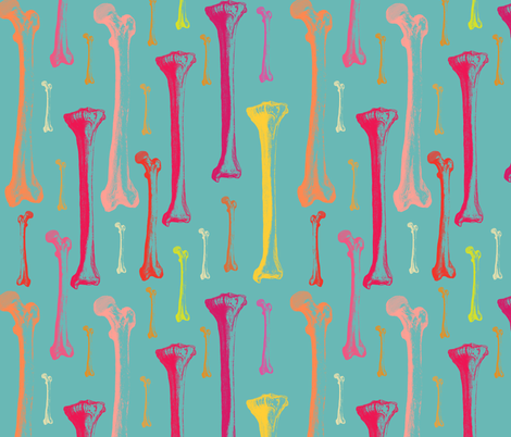 Bones on turqois fabric by susiprint on Spoonflower - custom fabric