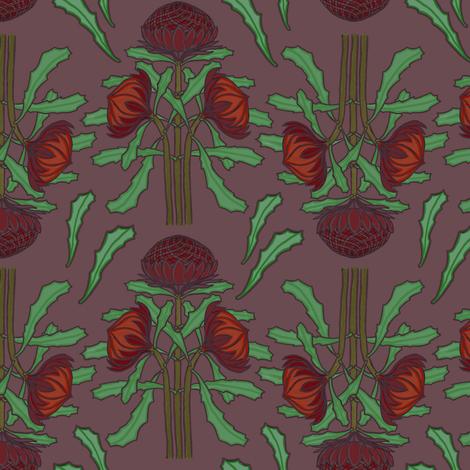 Darker waratahs by Su_G fabric by su_g on Spoonflower - custom fabric
