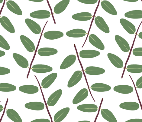 Hypericum Hidcote twig zigzag - white (Coordinate for Buttercups on a bush) fabric by victorialasher on Spoonflower - custom fabric