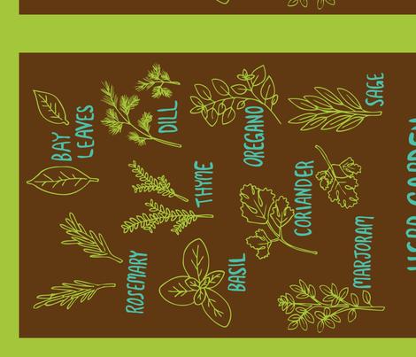 Herb Tea Towel (brown) fabric by wildflowerbee on Spoonflower - custom fabric