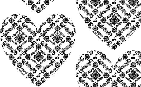 Cherry Damask Heart large fabric by lowa84 on Spoonflower - custom fabric