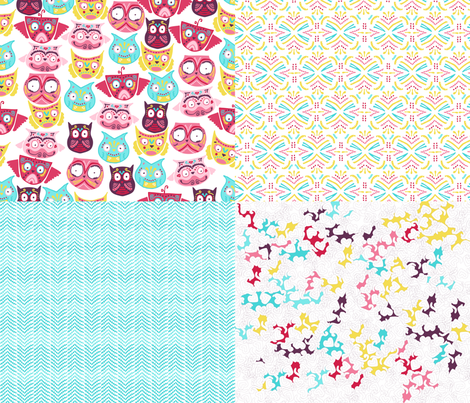 ornate owls collection fabric by babysisterrae on Spoonflower - custom fabric
