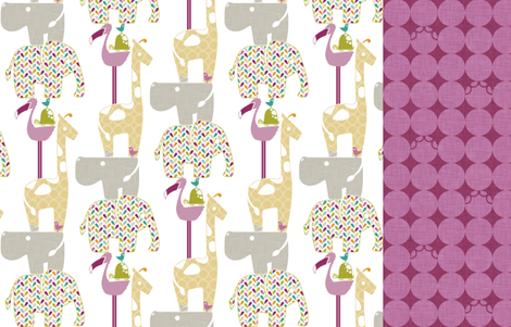 Animal Impressions Collection - 4 FQ in 1 Yard (Bird Vine, Animal Silhouette Quilt, Animal Tower, and Elephant Tracks) fabric by ttoz on Spoonflower - custom fabric